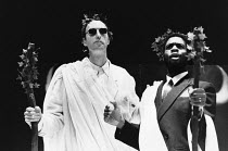 l-r: Roger Frost (Teiresias), Wilbert Johnson (Cadmus) in THE BACCHAE by Euripides at the Lyric Hammersmith Studio, London W6 25/10/1988 a Shared Experience production design: David Roger lighting: Ri...