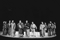 chorus of the Old Men of Argos in THE ORESTEIA by Aeschylus at the Olivier Theatre, National Theatre (NT), London SE1 28/11/1981 in a version by Tony Harrison design: Jocelyn Herbert assisted by Sue J...