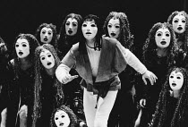 'Eumenides' - centre: Orestes with the Chorus of Furies in THE ORESTEIA by Aeschylus at the Olivier Theatre, National Theatre (NT), London SE1 28/11/1981 in a version by Tony Harrison design: Jocelyn...