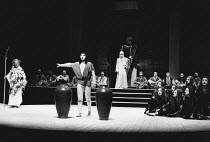 'Eumenides' - l-r: Apollo, Orestes, Athena with the Chorus of Furies in THE ORESTEIA by Aeschylus at the Olivier Theatre, National Theatre (NT), London SE1 28/11/1981 in a version by Tony Harrison des...
