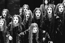Eumenides' - the Chorus of Furies with Orestes (rear) in THE ORESTEIA by Aeschylus at the Olivier Theatre, National Theatre (NT), London SE1 28/11/1981 in a version by Tony Harrison design: Jocelyn He...