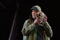 Ian McKellen as Hamlet with the skull of Yorick in HAMLET by Shakespeare opening at the Theatre Royal Windsor, England on 20/07/2021 set design: Lee Newby costumes: Loren Epstein wigs & make-up: Susan...