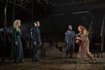 l-r: Jenny Seagrove (Gertrude), Jonathan Hyde (Claudius), Ben Allen (Horatio), Alis Wyn Davies (Ophelia) in HAMLET by Shakespeare opening at the Theatre Royal Windsor, England on 20/07/2021 set design...