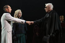 l-r: Jonathan Hyde (Claudius), Jenny Seagrove (Gertrude), Ian McKellen (Hamlet) in HAMLET by Shakespeare opening at the Theatre Royal Windsor, England on 20/07/2021 set design: Lee Newby costumes: Lor...