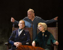 l-r: Jonathan Hyde (Claudius), Ian McKellen (Hamlet), Jenny Seagrove (Gertrude) in HAMLET by Shakespeare opening at the Theatre Royal Windsor, England on 20/07/2021 set design: Lee Newby costumes: Lor...