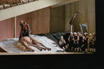 final scene: Don Giovanni (Natale de Carolis) disembowels a dead horse in DON GIOVANNI by Mozart at Glyndebourne Festival Opera, East Sussex, England 15/07/2000 music: Wolgang Amadeus Mozart libretto:...
