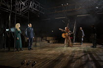 l-r: Jenny Seagrove (Gertrude), Jonathan Hyde (Claudius), Alis Wyn Davies (Ophelia), Ben Allen (Horatio) in HAMLET by Shakespeare opening at the Theatre Royal Windsor, England on 20/07/2021 set design...