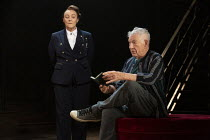 Frances Barber (Polonius), Ian McKellen (Hamlet) in HAMLET by Shakespeare opening at the Theatre Royal Windsor, England on 20/07/2021 set design: Lee Newby costumes: Loren Epstein wigs & make-up: Susa...