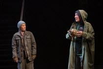 Llinos Daniel (Gravedigger), Ian McKellen as Hamlet in HAMLET by Shakespeare opening at the Theatre Royal Windsor, England on 20/07/2021 set design: Lee Newby costumes: Loren Epstein wigs & make-up: S...