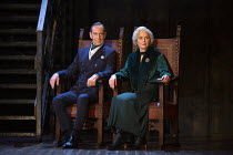 Jonathan Hyde (Claudius), Jenny Seagrove (Gertrude) in HAMLET by Shakespeare opening at the Theatre Royal Windsor, England on 20/07/2021 set design: Lee Newby costumes: Loren Epstein wigs & make-up: S...