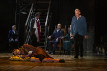'The Murder of Gonzago' - l-r: Frances Barber (Polonius), Nick Howard-Brown (Player King - lying on stage), Ashley G Gayle (Player), Jonathan Hyde (Claudius), Jenny Seagrove (Gertrude), Ian McKellen (...