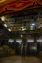 the set for HAMLET by Shakespeare opening at the Theatre Royal Windsor, England on 20/07/2021, showing the stage floor, stairs, on-stage seating, elevated platforms, lighting gantry, rig, lights and p...