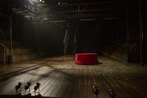 full stage set for HAMLET by Shakespeare opening at the Theatre Royal Windsor, England on 20/07/2021, showing the floor, stairs, on-stage seating, elevated platform and spotlights set design: Lee Newb...