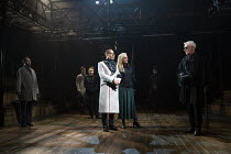 centre, l-r: Frances Barber (Polonius), Jonathan Hyde (Claudius), Jenny Seagrove (Gertrude) right: Ian McKellen (Hamlet) in HAMLET by Shakespeare opening at the Theatre Royal Windsor, England on 20/07...