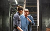 l-r: Ben Allen (Horatio), Ian McKellen (Hamlet) in HAMLET by Shakespeare at the Theatre Royal Windsor, England 20/07/2021 set design: Lee Newby costumes: Loren Epstein wigs & make-up: Susanna Peretz l...