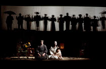 l-r: Anne-Marie Owens (Suzuki), Magdalena Falewicz (Cio-Cio-San / Madam Butterfly), Jungi Morikani (Sorrow) in MADAM BUTTERFLY by Puccini at English National Opera (ENO), London Coliseum, London WC2 2...