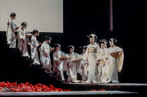 front right: Janice Cairns (Cio-Cio-San / Madam Butterfly) with bridesmaids in MADAM BUTTERFLY by Puccini at English National Opera (ENO), London Coliseum, London WC2 1988 music: Giacomo Puccini libre...