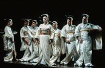 Susan Bullock (Cio-Cio-San / Madam Butterfly) with bridesmaids in MADAM BUTTERFLY by Puccini at English National Opera (ENO), London Coliseum, London WC2 02/01/1991 music: Giacomo Puccini libretto: Lu...