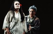 l-r: Susan Bullock (Cio-Cio-San / Madam Butterfly), Louise Winter (Suzuki) in MADAM BUTTERFLY by Puccini at English National Opera (ENO), London Coliseum, London WC2 02/01/1991 music: Giacomo Puccini...