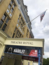 exterior of the Theatre Royal Windsor, England displaying a poster for HAMLET by Shakespeare starring Sir Ian McKellen as the Danish Prince, running from June to September 2021. Directed by Sian Mathi...