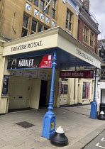 front entrance to the Theatre Royal Windsor, England displaying a poster for HAMLET by Shakespeare starring Sir Ian McKellen as the Danish Prince, running from June to September 2021. Directed by Sian...
