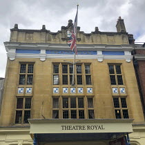 upper front facade of the Theatre Royal Windsor, Berkshire, England. A Grade II listed building, designed by Frank Verity in the early English Renaissance style, it opened in 1910. It has been managed...