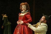Amanda Drew (Gertrude), Joshua Richards (Poldavy) in EASTWARD HO! by Ben Jonson, John Marston & George Chapman at the Royal Shakespeare Company (RSC), Swan Theatre, Stratford-upon-Avon 25/04/2002 desi...