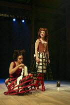 l-r: Sasha Behar (Sindefy), Amanda Drew (Gertrude) in EASTWARD HO! by Ben Jonson, John Marston & George Chapman at the Royal Shakespeare Company (RSC), Swan Theatre, Stratford-upon-Avon 25/04/2002 des...
