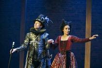 Billy Carter (Francis Quicksilver - Touchstone's apprentice), Sasha Behar (Sindefy - Quicksilver's lover) in EASTWARD HO! by Ben Jonson, John Marston & George Chapman at the Royal Shakespeare Company...