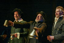 l-r: Wayne Cater (Scrivener), David Acton (Seagull), Vincent Brimble (Scapethrift) in EASTWARD HO! by Ben Jonson, John Marston & George Chapman at the Royal Shakespeare Company (RSC), Swan Theatre, St...