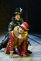 (rear) Billy Carter (Francis Quicksilver - Touchstone's apprentice), Michael Matus (Sir Petronel Flash) in EASTWARD HO! by Ben Jonson, John Marston & George Chapman at the Royal Shakespeare Company (R...
