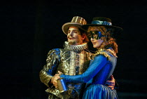 Michael Matus (Sir Petronel Flash), Sian Howard (Winifred - Security's wife) in EASTWARD HO! by Ben Jonson, John Marston & George Chapman at the Royal Shakespeare Company (RSC), Swan Theatre, Stratfor...