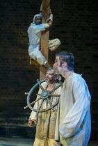 from front: Billy Carter (Francis Quicksilver - Touchstone's apprentice), David Acton (Seagull), Avin Shah (Slitgut) in EASTWARD HO! by Ben Jonson, John Marston & George Chapman at the Royal Shakespea...