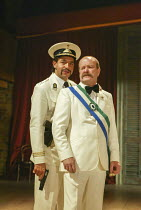 l-r: Joe Dixon (Mendoza), Colin McCormack (Pietro, Duke of Genoa) in THE MALCONTENT by John Marston at the Royal Shakespeare Company (RSC), Swan Theatre, Stratford-upon-Avon, England 20/08/2002 design...