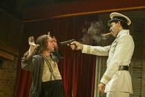 l-r: Antony Sher (Giovanni Altofronto, deposed Duke of Genoa disguised as Malevole), Joe Dixon (Mendoza) in THE MALCONTENT by John Marston at the Royal Shakespeare Company (RSC), Swan Theatre, Stratfo...