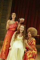 l-r: Sasha Behar (Bianca), Caroline Faber (Emilia), Claire Benedict (Maquerelle) in THE MALCONTENT by John Marston at the Royal Shakespeare Company (RSC), Swan Theatre, Stratford-upon-Avon, England 20...
