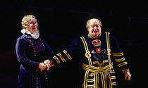Felicity Palmer (Dame Carruthers), Donald Adams (Sergeant Meryll) in THE YEOMEN OF THE GUARD by Gilbert & Sullivan at Welsh National Opera, Cardiff, Wales 13/12/1994 conductor: Gareth Jones set design...