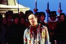 Richard Suart (Jack Point) in THE YEOMEN OF THE GUARD by Gilbert & Sullivan at Welsh National Opera, Cardiff, Wales 13/12/1994 conductor: Gareth Jones set design: Peter J Davison costumes: Nicky Gilli...