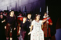 front, l-r: Donald Maxwell (Wilfred Shadbolt), Pamela Helen Stephen (Phoebe Meryll), Alwyn Mellor (Elsie Maynard) in THE YEOMEN OF THE GUARD by Gilbert & Sullivan at Welsh National Opera, Cardiff, Wal...