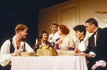 l-r: Owen Teale (Sergei), Angela Pleasence (Belzer), Eve Pearce (Jeanne), Sheila Gish (Isadora), Gerard Logan (Alexandros), Peter Wyborn (Parisian) in WHEN SHE DANCED by Martin Sherman at the King's H...