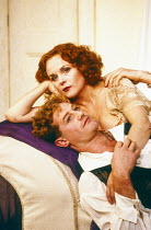 Owen Teale (Sergei), Sheila Gish (Isadora) in WHEN SHE DANCED by Martin Sherman at the King's Head Theatre Club, Islington, London N1 1988  set design: Anthony Ward costumes: Tim Heywood lighting: Je...