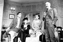 l-r: John Michie (John Whittaker), Jane How (Larita), Miranda Kingsley (Marion Whittaker), Ronnie Stevens (Colonel Whittaker) in EASY VIRTUE by Noel Coward at the King's Head Theatre Club, Islington,...