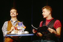 l-r: James Dreyfus (Gary), Charles Edwards (Kevin) in EUROVISION written & directed by Tim Luscombe at the Vaudeville Theatre, London WC2 11/1993 original songs: Jason Carr choreography: Richard Samps...