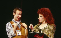 James Dreyfus (Gary), Anita Dobson (compere) in EUROVISION written & directed by Tim Luscombe at the Vaudeville Theatre, London WC2 11/1993 original songs: Jason Carr choreography: Richard Sampson