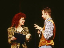 Anita Dobson (compere), James Dreyfus (Gary) in EUROVISION written & directed by Tim Luscombe at the Vaudeville Theatre, London WC2 11/1993 original songs: Jason Carr choreography: Richard Sampson