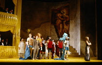 front left: Jane Findlay (Orestes) right: Rosemary Ashe (Helen, Queen of Sparta) in LA BELLE HELENE by Offenbach at Sadler's Wells, London EC1 1988 music: Jacques Offenbach text: Henri Meilhac & Ludov...