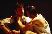 l-r: Paul Rhys (Leo), Clive Owen (Otto) in DESIGN FOR LIVING by Noel Coward at the Donmar Warehouse, London WC2 06/09/1994 design: Stephen Brimson Lewis lighting: Mark Henderson director: Sean Mathias