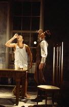 l-r: Clive Owen (Otto), Paul Rhys (Leo) in DESIGN FOR LIVING by Noel Coward at the Donmar Warehouse, London WC2 06/09/1994 design: Stephen Brimson Lewis lighting: Mark Henderson director: Sean Mathias