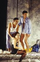 l-r: Clive Owen (Otto), Rachel Weisz (Gilda), Paul Rhys (Leo) in DESIGN FOR LIVING by Noel Coward at the Donmar Warehouse, London WC2 06/09/1994 design: Stephen Brimson Lewis lighting: Mark Henderson...