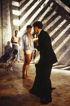 l-r: Clive Owen (Otto), Paul Rhys (Leo), Rachel Weisz (Gilda), Nicholas Clay (Ernest Friedman) in DESIGN FOR LIVING by Noel Coward at the Donmar Warehouse, London WC2 06/09/1994 design: Stephen Brimso...